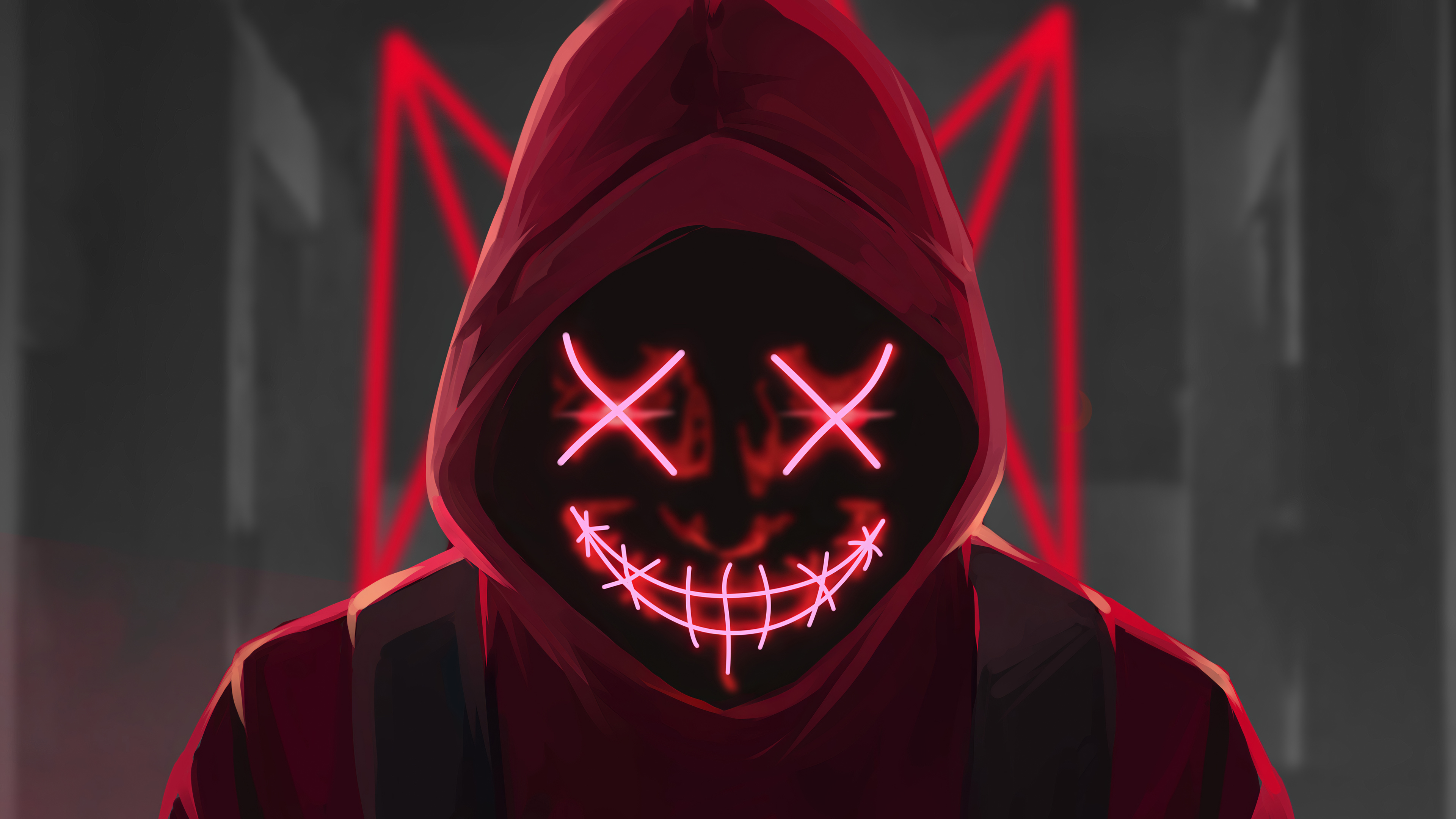 Red Mask Neon Eyes 4k Hd Artist 4k Wallpapers Images Backgrounds Photos And Pictures