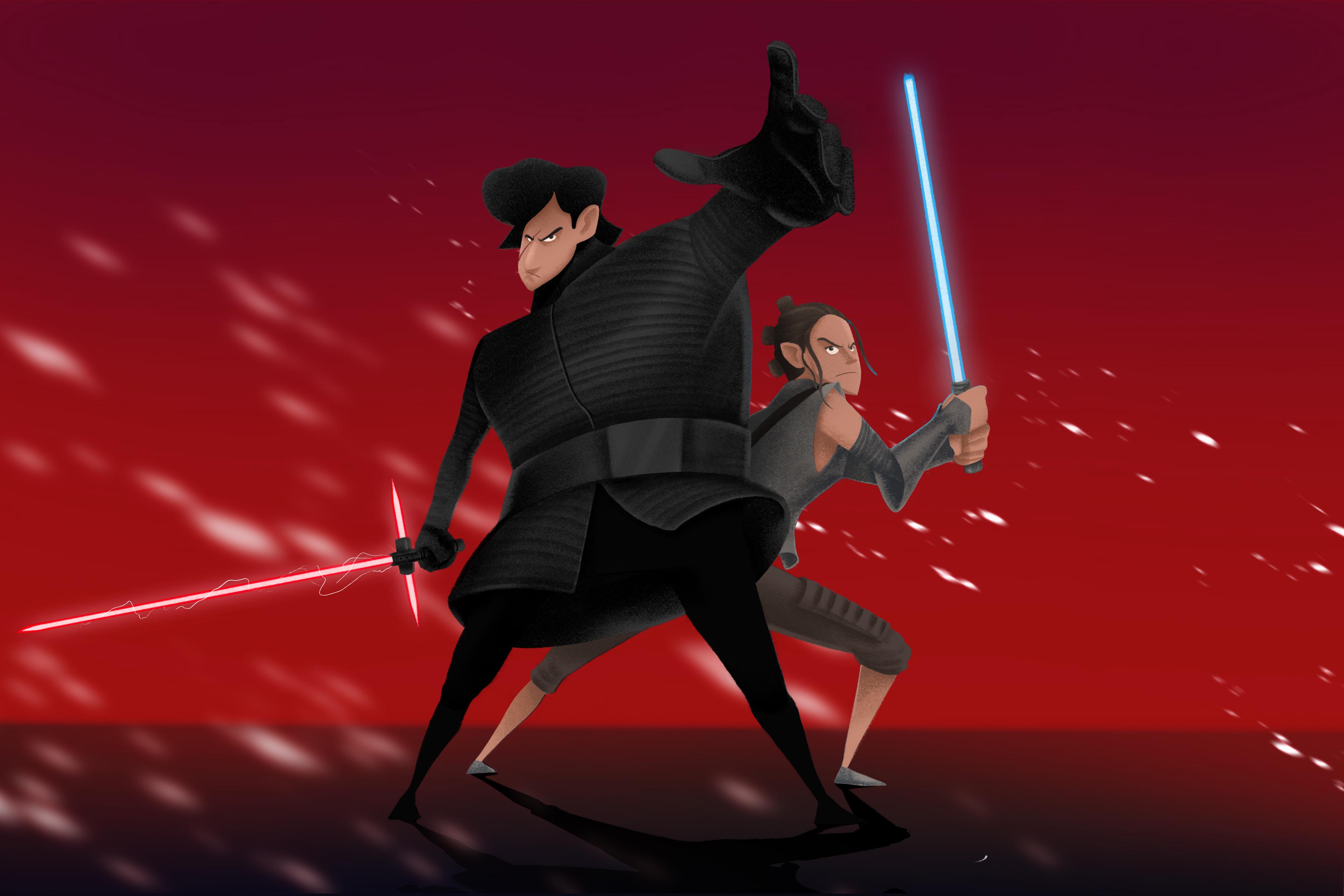 Rey And Kylo Ren Artwork 4k, HD Superheroes, 4k Wallpapers ...