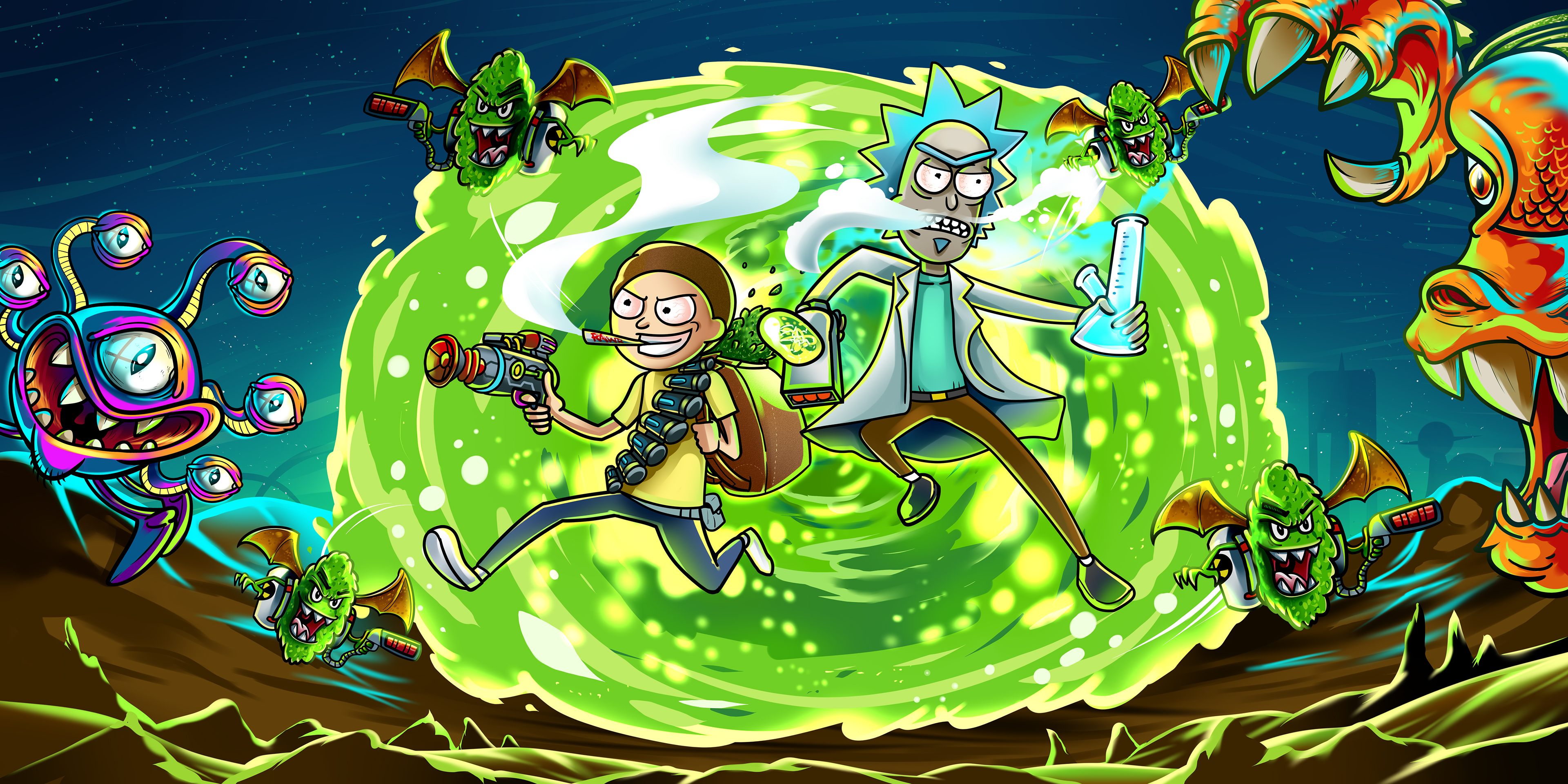 Rick And Morty In Another Dimension Illustration Hd Tv Shows 4k