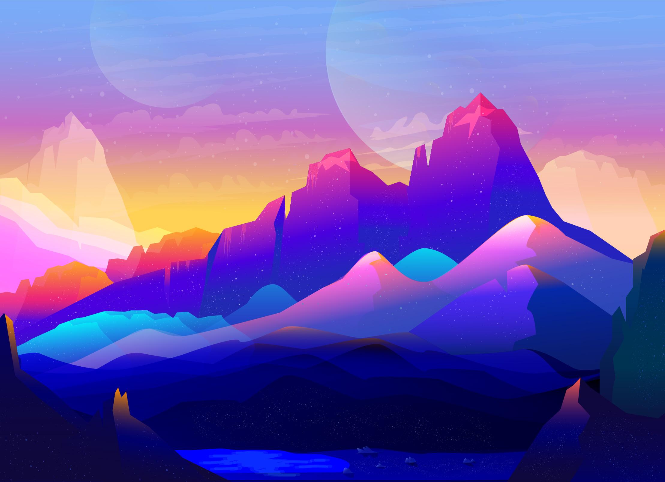 Rock Mountains Landscape Colorful Illustration Minimalist