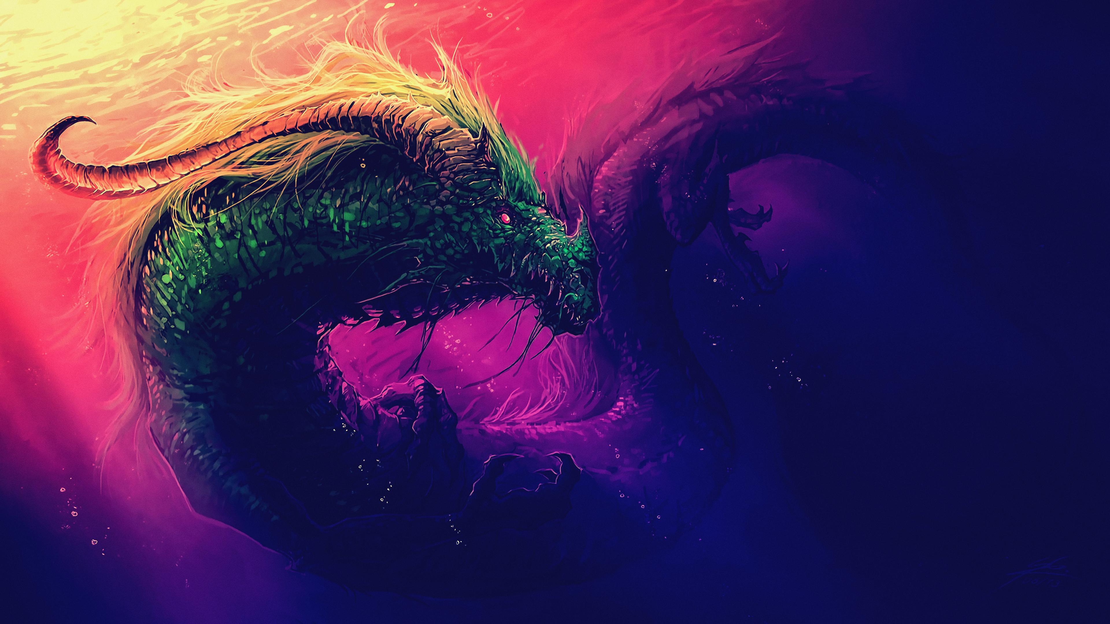 Sea Serpent Digital Art 4k, HD Artist