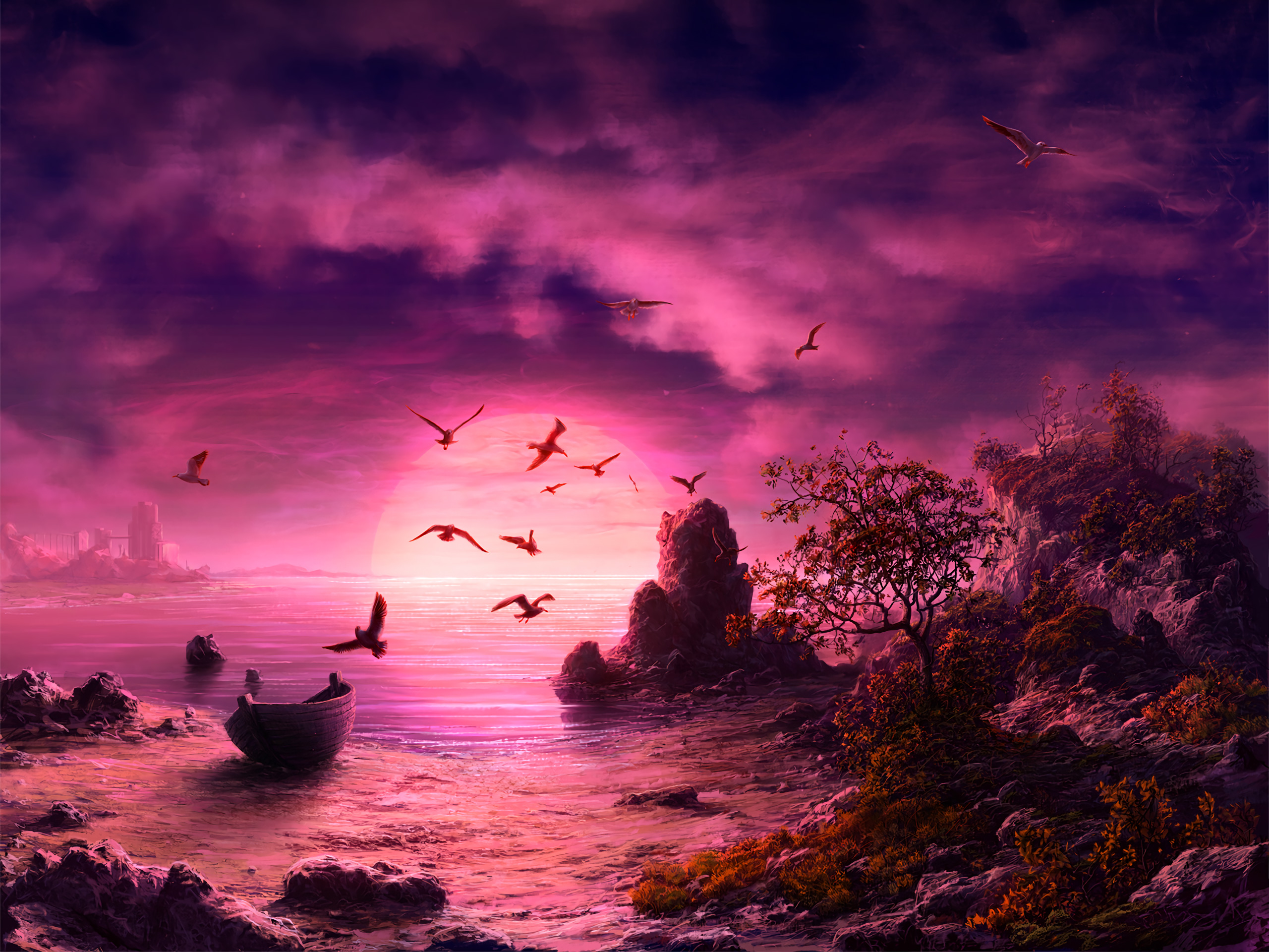 1400x900 Seagull Birds Boat Landscape Purple Sunset 1400x900 Resolution Hd 4k Wallpapers Images Backgrounds Photos And Pictures
