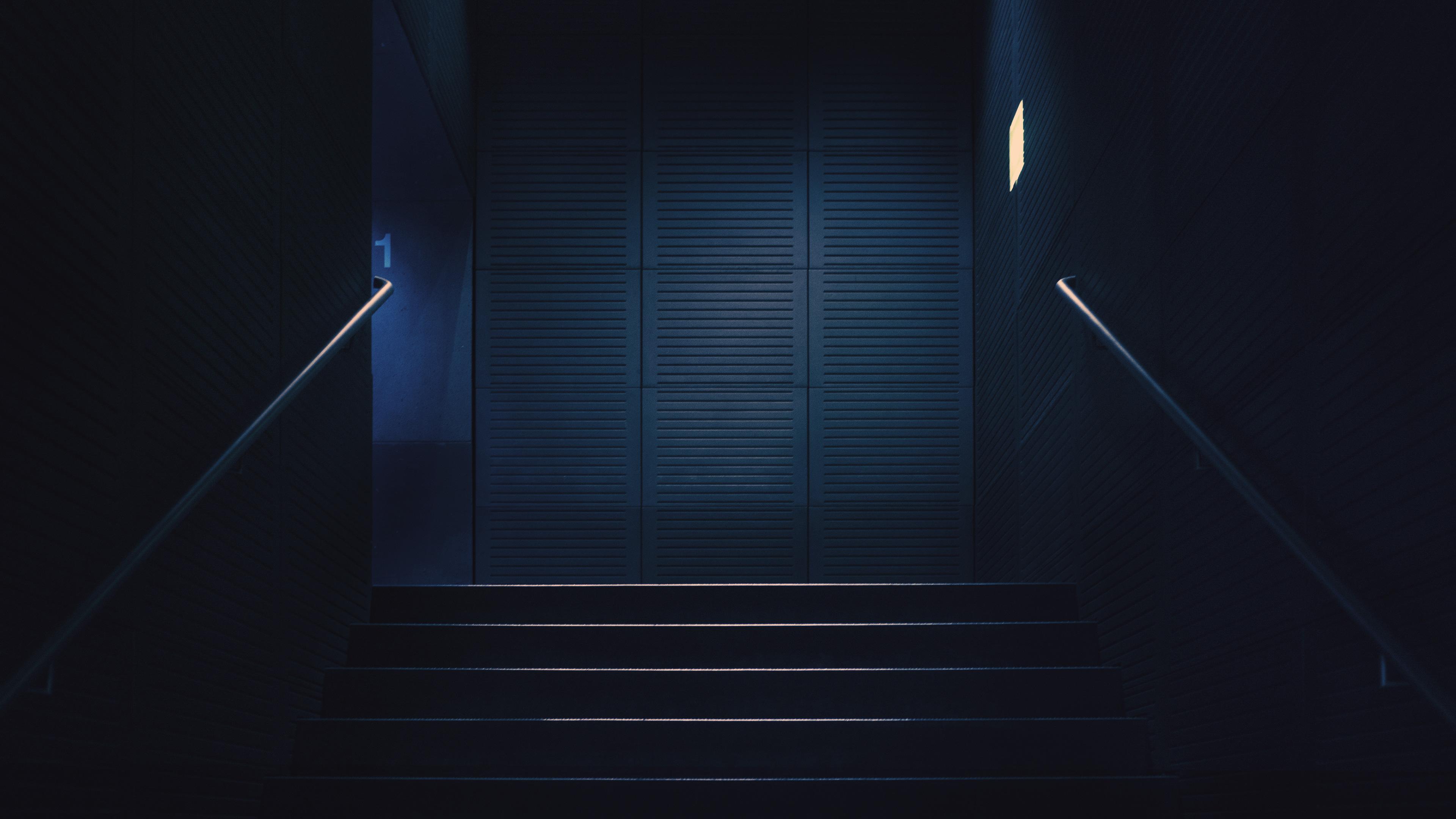 Stairway Dark Lights Minimalism 4k Hd Artist 4k Wallpapers