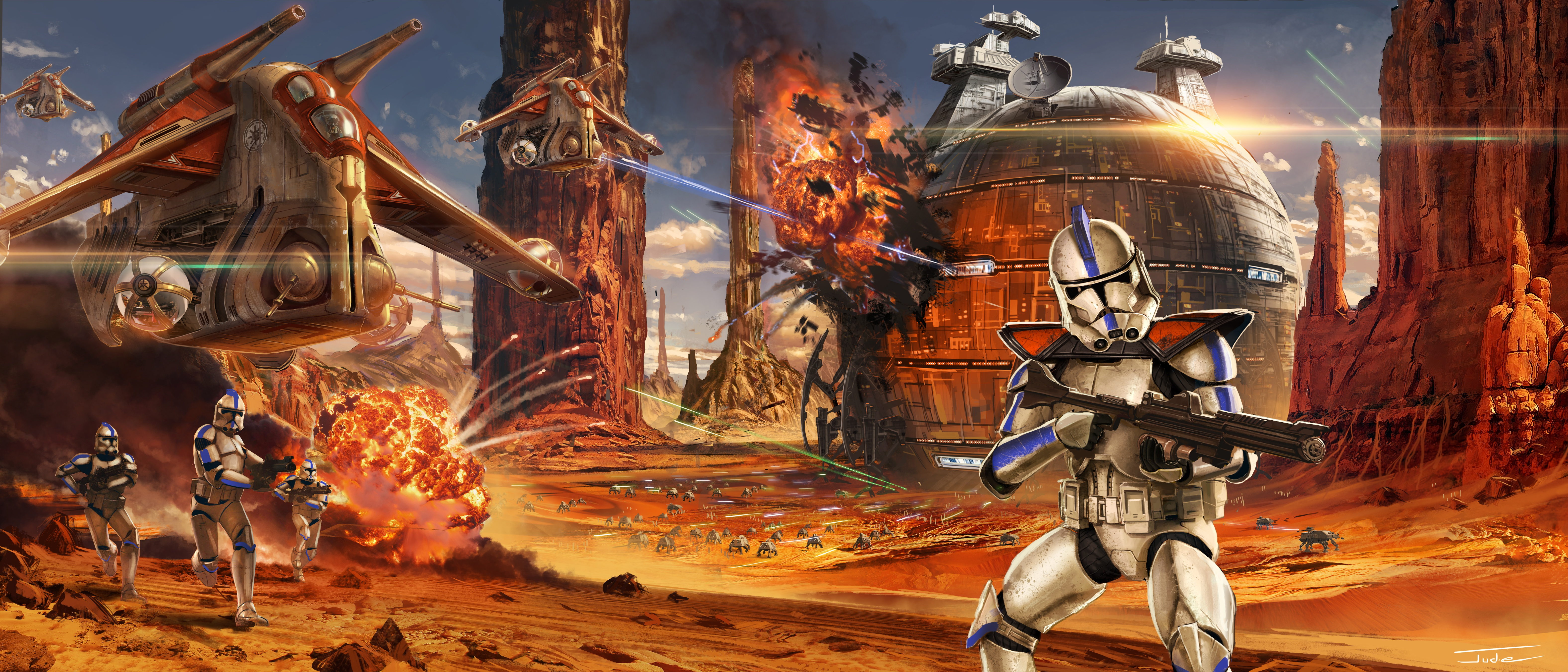 2048x1152 Star Wars Artwork Geonosis Clone Trooper 2048x1152 Resolution Hd 4k Wallpapers Images Backgrounds Photos And Pictures