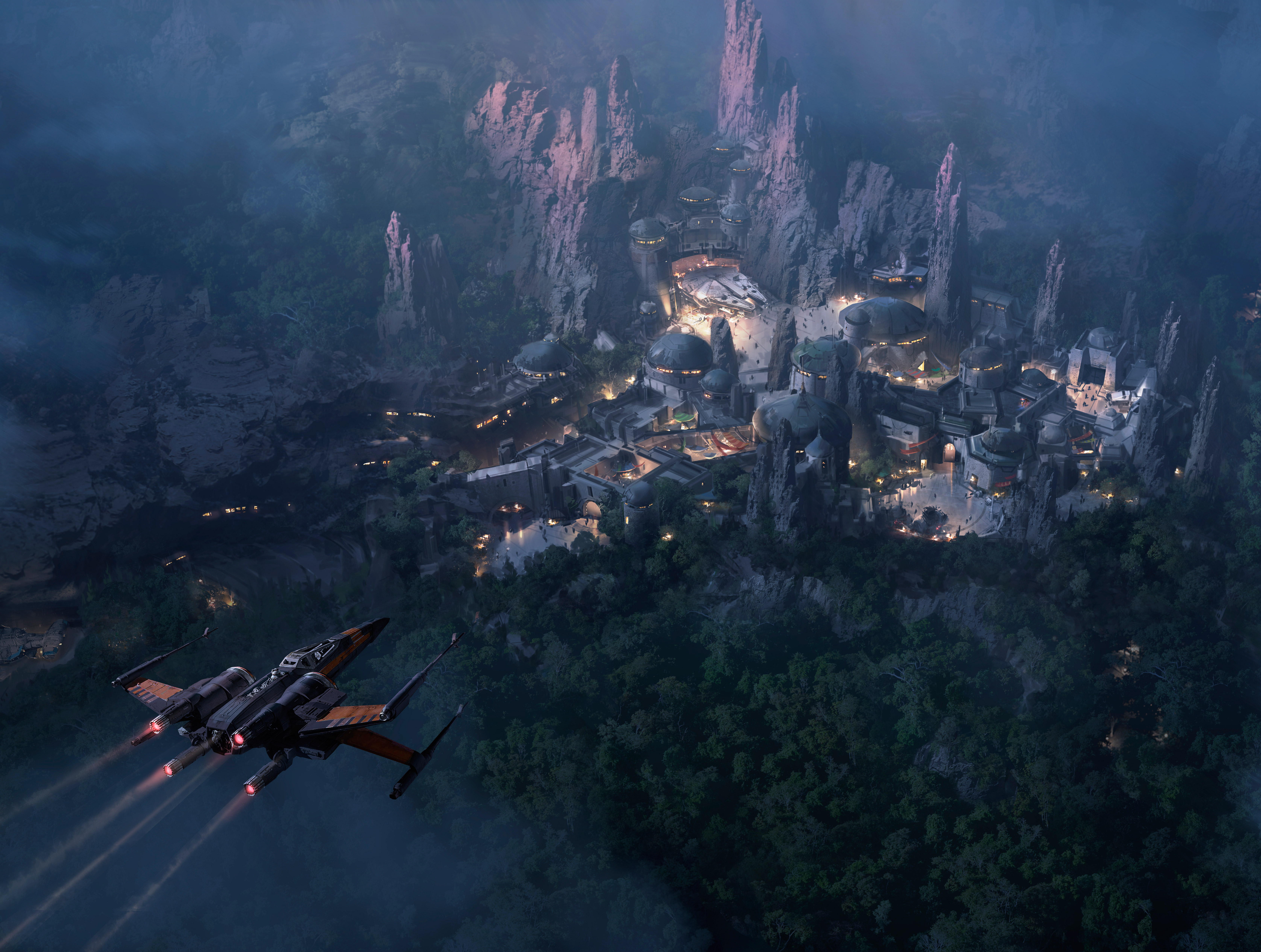 Star Wars Land At Night Concept Art 5k Hd Artist 4k Wallpapers Images Backgrounds Photos And Pictures