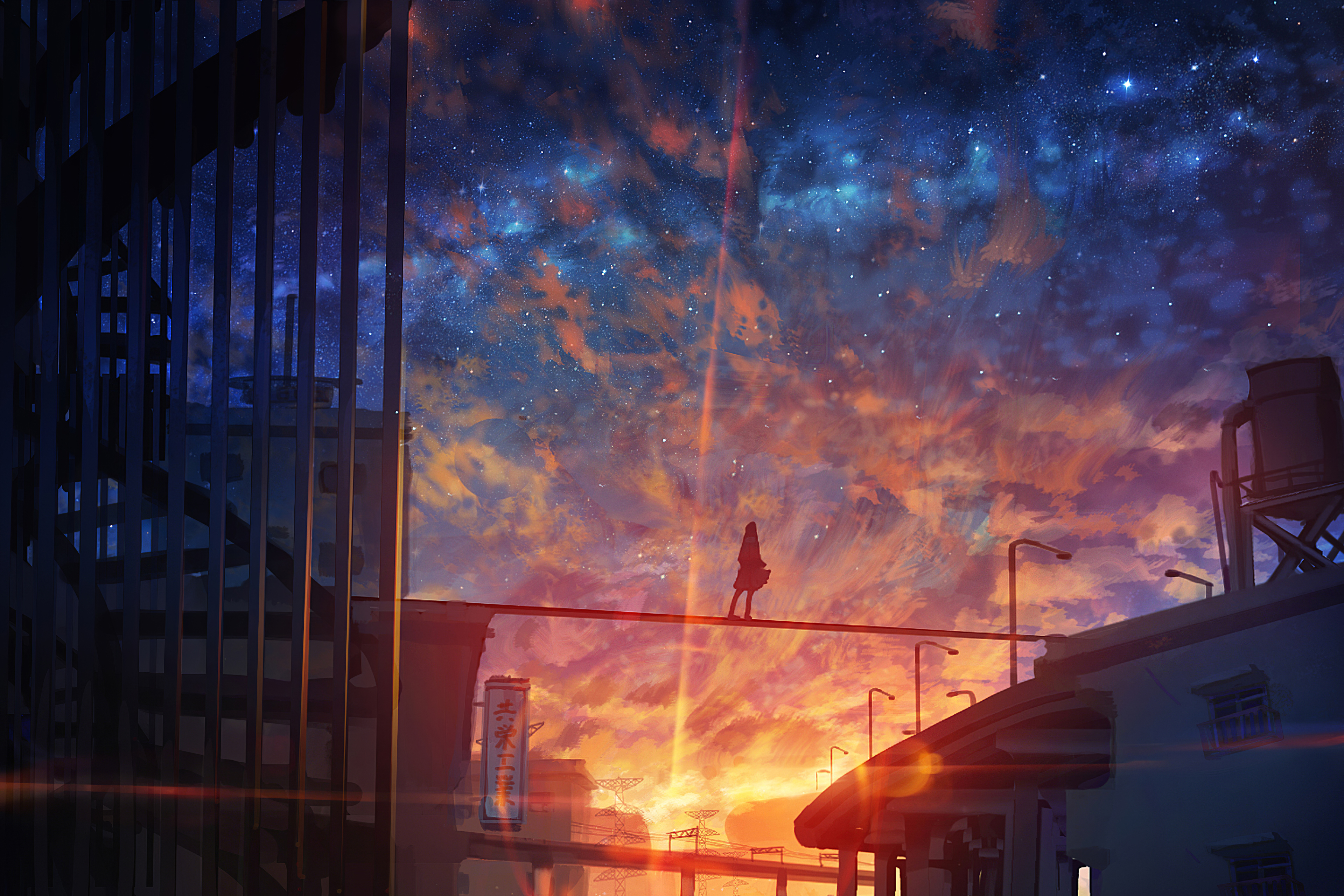 1366x768 Starry Sky Anime Girl 4k 1366x768 Resolution Hd 4k Wallpapers Images Backgrounds Photos And Pictures