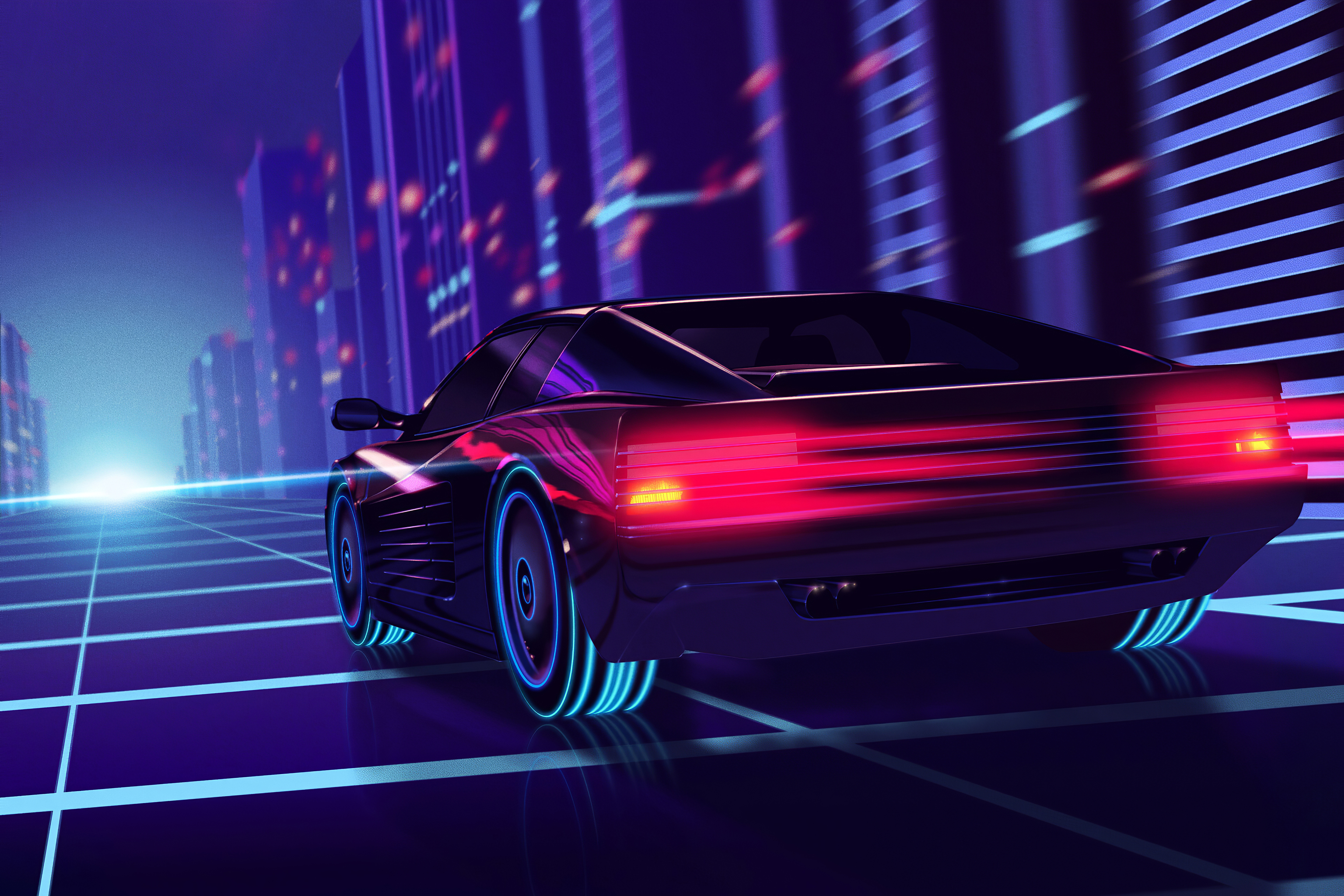Synthwave Ferrari Testarossa 4k Hd Cars 4k Wallpapers Images Backgrounds Photos And Pictures