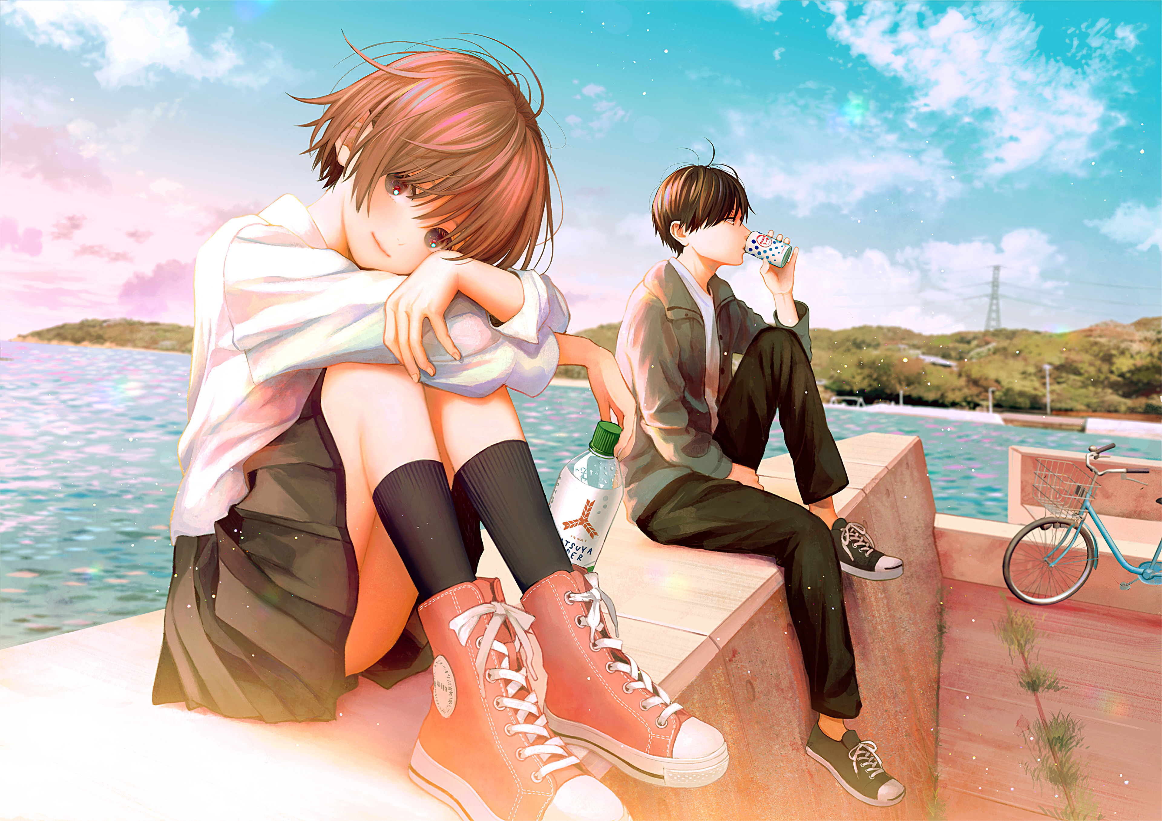 teenage anime couple school dress 4k aq