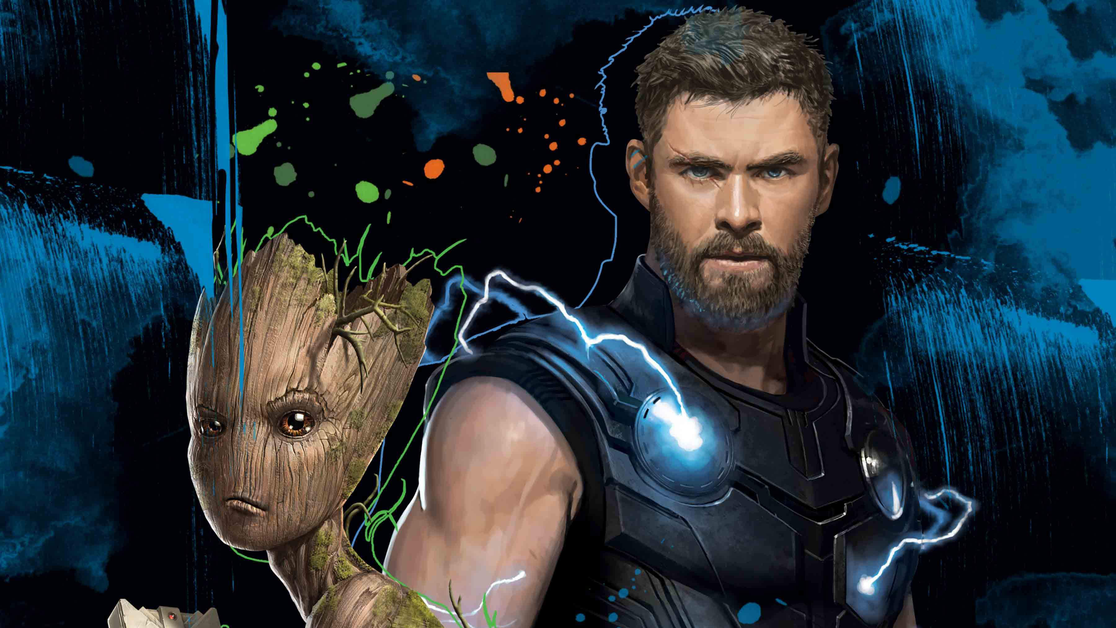 Thor And Groot 4k Hd Superheroes 4k Wallpapers Images Backgrounds Photos And Pictures