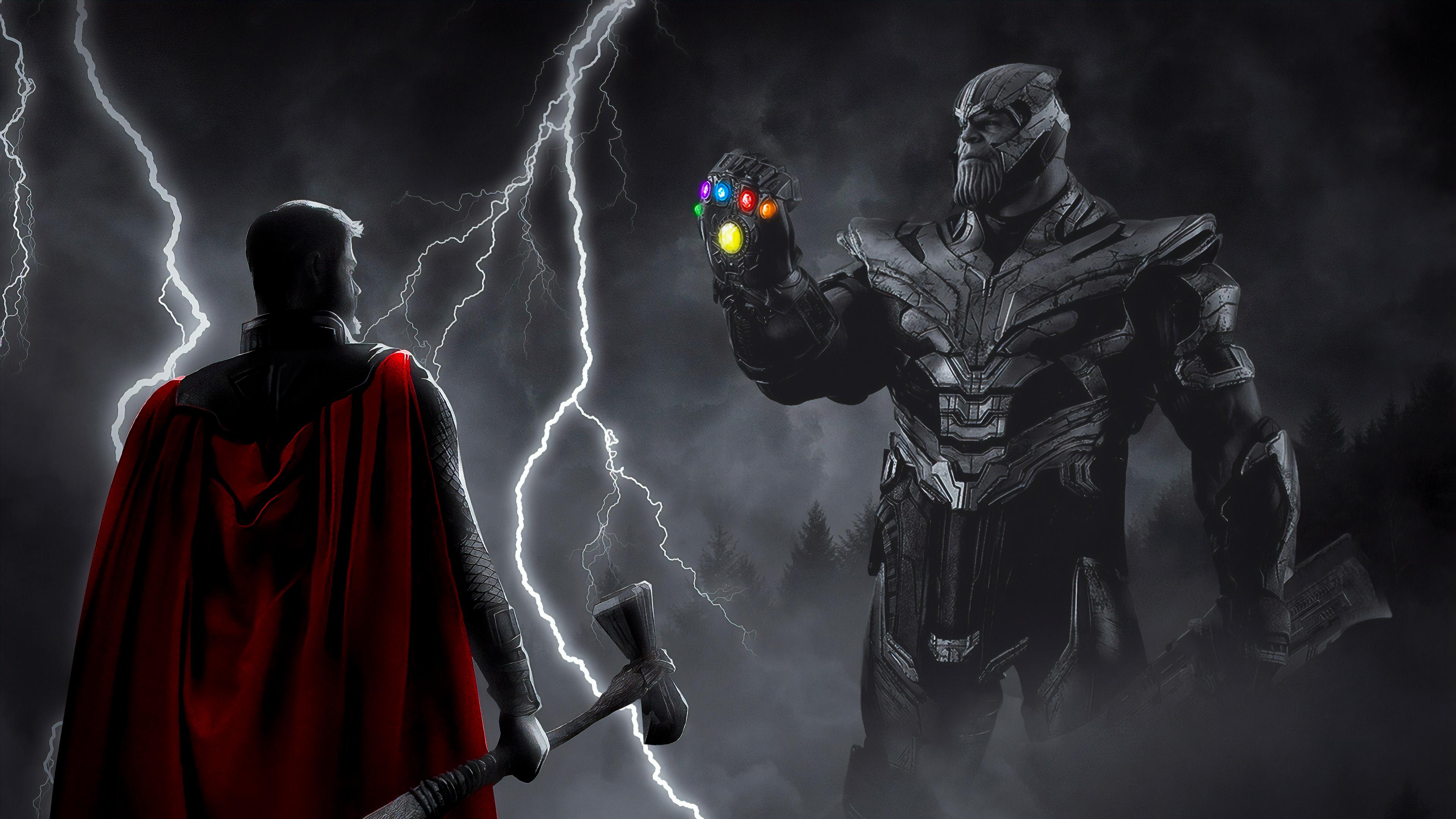 Thor Vs Thanos War 4k Hd Superheroes 4k Wallpapers Images