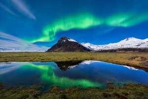 Aurora Borealis Light Mountain Nature Reflection Wallpaper