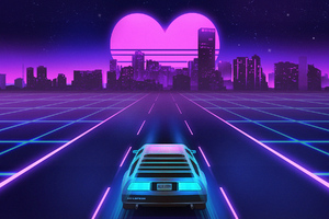1980s Delorean Vaporwave Heart Shape Sunset