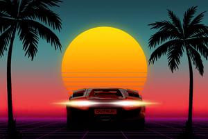 1980s Sunset Outrun 4k