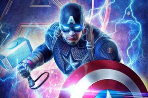 2019 Captain America Mjolnir Avengers Endgame 4k Wallpaper