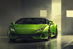 2019 Lamborghini Huracan Evo Spyder Front Wallpaper