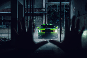 2020 Green Dodge Challenger 4k Wallpaper