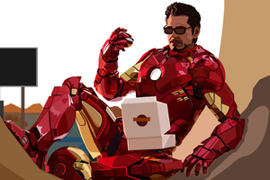 2020 Iron Man Eating Donuts Wallpaper