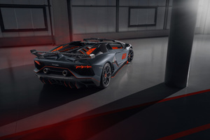 2020 Lamborghini Aventador SVJ 63 Roadster Rear View 8k Wallpaper