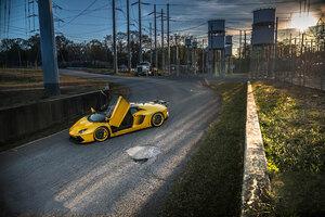 2020 Orange Lamborghini Aventador Sv Doors Up