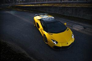 2020 Orange Lamborghini Aventador Sv Upper View