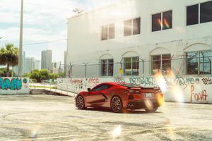2021 Vossen Beautiful Wrapped Corvette C8 Rear 8k Wallpaper