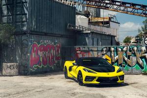 2021 Vossen Yellow And Black Corvette C8 Wallpaper