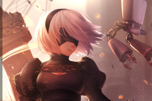 2b Nier Automata Digital Art Wallpaper