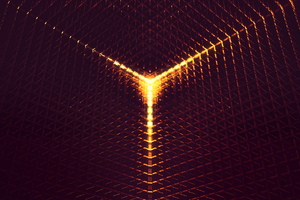 3D Abstract Digital Art Orange Light 4k