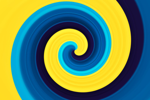 3d Abstract Swirl Yellow Blue 5k Wallpaper