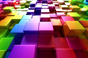 3d Colorful Cubes Wallpaper