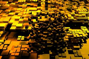 3d Cubes Gold 5k Wallpaper