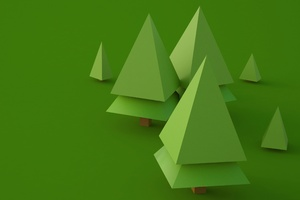 3d Trees Digital Art Wallpaper