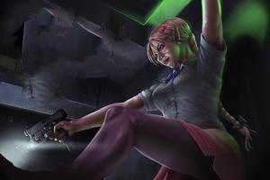 4k Girl With Gun Artwork