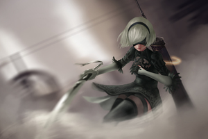 5k 2B NieR Automata Wallpaper