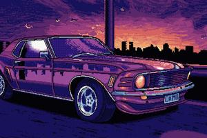 8 Bit Mustang Wallpaper