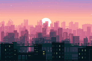 8 Bit Pixel Art City