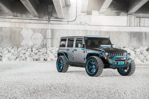 8k Jeep Wrangler Blue Grey Wallpaper