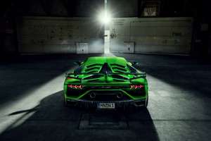8k Novitec Lamborghini Aventador SVJ 2019 Rear View Wallpaper