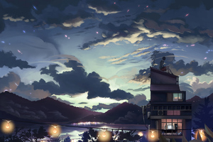 A Cloudy Evening Anime Girl Sitting Rooftop 4k Wallpaper
