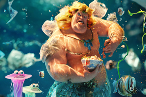 A Merman Trying To Eat In A Plastic Polluted Ocean Wallpaper