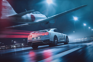 A6M2 ZERO With Nissan GTR Cgi Wallpaper