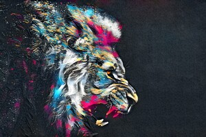 Abstract Artistic Colorful Lion