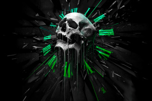 Abstract Skull Clock Wallpaper