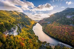 Adirondack Mountains River Clouds Trees 5k