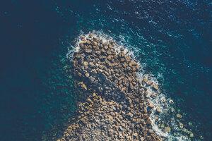 Aeiral View Sea Water Coast Rocks Wallpaper