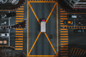 Aerial Photography Pedestrian Crossing Vehicles