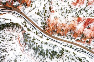 Aerial Photography Winter Road 5k Wallpaper