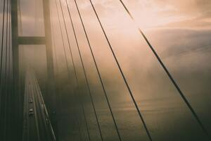 Aerial View Of Bridge Misty Water