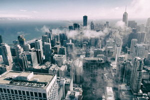 Aerial View Of Buildings Smoke Fog Monochrome Wallpaper