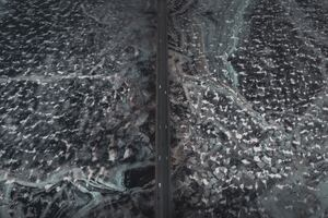 Aerial View Of Road Ice Frozen 4k